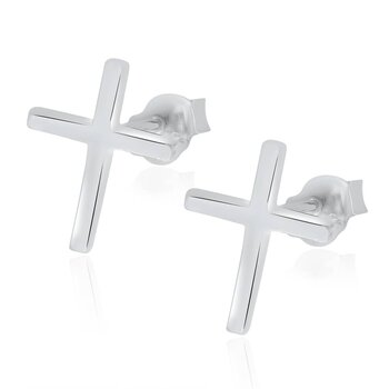 1 Pair Ear Studs Crosses 925 Silver