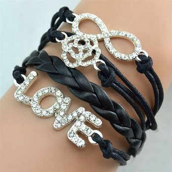 Armband Infinity LOVE ROSE Strass Silber schwarz