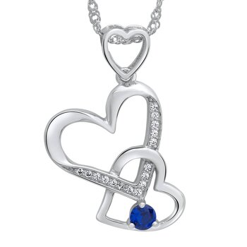 Silver pendant heart royal blue 925 silver